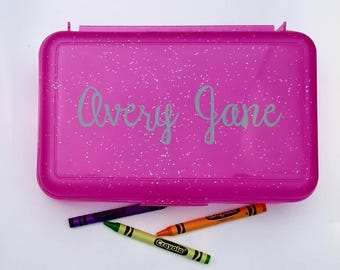 Personalized Pencil Box- Crayon Box, Pencil Box Name, School Supplies box, Pencil Holder, Kids Easter Gift, Personalized kids Gift