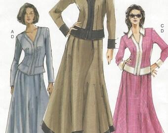 Womens Front Zipper Top and Handkerchief Hem Skirt OOP Vogue Sewing Pattern 7796 Size 12 14 16 Bust 34 36 38 UnCut Vogue Patterns