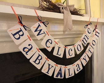 Aztec Baby Shower Decoration Tribal Baby Shower Welcome Baby Name Banner Teepee Baby Shower Arrows Baby Shower Pow Wow Custom Colors