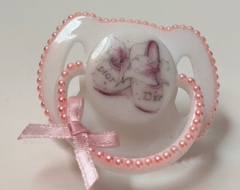 Pink ballet shoes magnetic reborn doll dummy pacifier