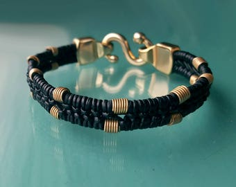 Kenisha Braided Leather Bracelet, Men's Women's Beaded Leather Bracelet, Ethiopian African Coil Beads, Gold or Silver, S Clasp, Woven Cord