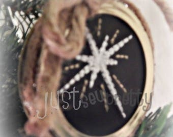 Mason Jar Lid Ornament Star Design