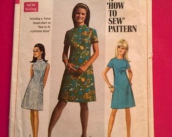 Vintage Simplicity Pattern Junior Teens Misses Size 14 Bust 36 Dress 1960's 1970's