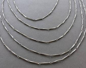 Skinny Silver Bar Chain, Beveled Bar Chain, 1mm, 4FT