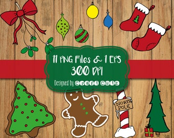Hand Drawn Christmas Clipart - Christmas Elements - North Pole Clipart - DIY invitations - Gingerbread Cookie Clipart - Sticker Clipart
