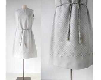 1960s Mod Dress | Futuristic Goddess Dress | Silver Dress | Large L