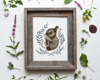 Sleeping Baby Bunny Framed Print 8x10, Watercolor Woodland Nursery Print