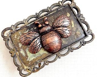 Rustic Verdigris Bumble Bee Buckle & Belt, vintage finish,