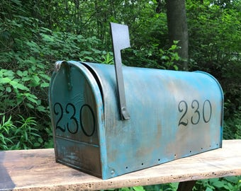 LARGE SIZE* Custom Aged Copper Verde Patina Mailbox **With House Number**