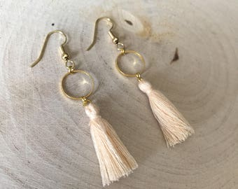 Beige tassel and gold connector earrings