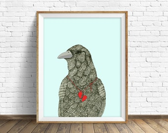 "raven, raven print, raven art, wall art, wall art print, large art, large wall art, nature prints, ink drawing, art print - ""Broken Heart"""