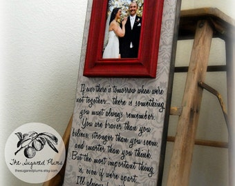 Wedding Frame Personalized Picture Frame Custom 8x20 Ever THERE IS TOMORROW  Anniversary Love Father of Mother of Song Vows Winnie the Pooh