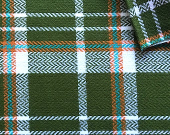 Vintage Fabric 60's Woven Backed Wool, Army Green Plaid, Upholstery Fabric, Textiles