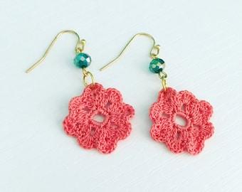 Neenah Crochet Earrings in Coral, Lightweight Dangle Earrings, Lace Doily Earrings, Beach Jewelry, Bridesmaid Gift, Gift Under 30, Mom Gift
