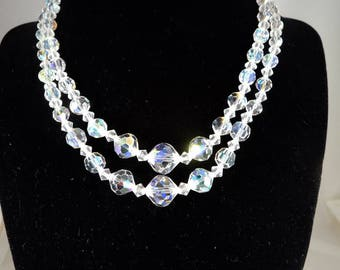 "Sarah Coventry Crystal Necklace - 2 (Double) Strand AB Faceted Beads - 1950s Sarah Cov - Rhinestones - 13"" - 15"" - Vintage Costume Jewelry"