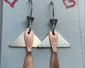 Beautiful Silver and Copper earrings
