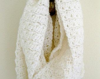 Handmade crochet infinity mobius scarf in bright white