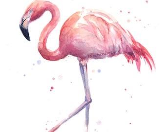 Flamingo Watercolor Painting Pink Flamingo Art Print Tropical Flamingo Print, Romantic Art Pink Bird Colorful Animal, Nursery Print, Love