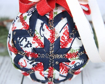 Quilted Christmas Ornament Ball-Cream-Blue-Red-Green-Classic Christmas