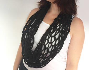 Black infinity scarf. Gift for her. Edgy accessory. Modern scarf. Mothers day gift. Cotton scarf. Black fashion. Summer scarf. Winter scarf