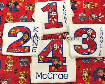 Paw Patrol birthday shirt / Chase / Rubble / Marshall / Pup / Embroidered Paw Patrol / Personalized with Name Shirt / Paw Patrol Party /
