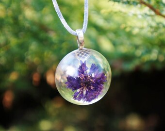 Purple Cornflower necklace. Romantic wedding Purple necklace OOAK necklace jewelry. Botanical jewelry Purple Centaurea necklace Gift for her