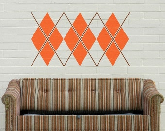 argyle wall decal, geometric patterns sticker art, vinyl graphics, preppy, FREE SHIPPING