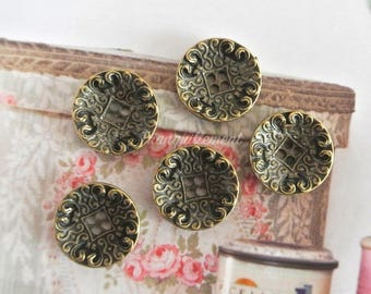 5 Small Retro Vintage Style Bronze Steampunk Floral Flower Shirt Wedding Jacket Coat Sweater Metal Button 0.75 Inches / 1.8 cm