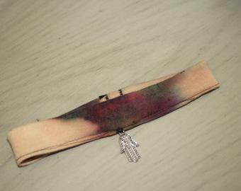 Silver Hamsa Bleach and Tie dye Choker