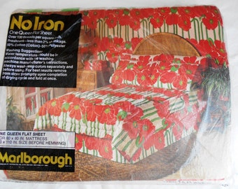 Vintage Marlborough Giant Huge Flowers Queen Flat Sheet New in Package Red White Green