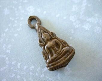 "Tiny Brass Enshrined Buddha Charm Thailand lot of 1 petite cast 20mm 7/8"" pendant"
