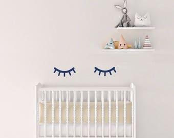 Nursery Wall Decals Sleepy Eyes Stickers, Wall Stickers Wall Eyelashes, Vinyl Wall Decal Stickers Sleepy Eyes, Kids Room Peel Stick,