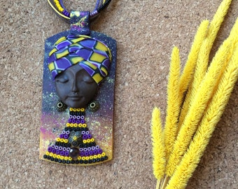 Boho jewelry, Polymerclay jewelry, African style pendant, Tribal necklace, Unique necklace, Bohemian jewelry Artisan jewelry Purple necklace
