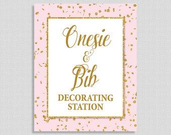 Onesie and Bib Decorating Station Sign, Pink & Gold Glitter Shower Sign, Baby Girl Shower Sign,  INSTANT PRINTABLE