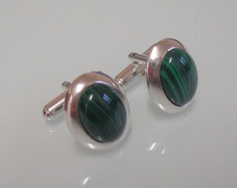 Brand New Classic Sterling Silver & Curved Malachite Oval 19 x 14mm Cufflinks