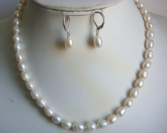 Pearl set - genuine 7-8 mm white freshwater pearl necklace earrings set