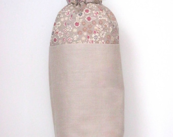 Linen and floral Frou-Frou stone bottle cover