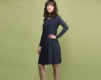 Gray Dress, Long Sleeve Dress, Comfortable Dress, Autumn Dress, Grey Dress, Modest Dress Midi Dress Elegant Dress Spring Dress Evening Dress