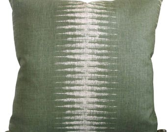 Ikat Stripe In Olive-High End Designer Decorative Pillow Cover-Peter Dunham-Accent Pillow-Single Sided