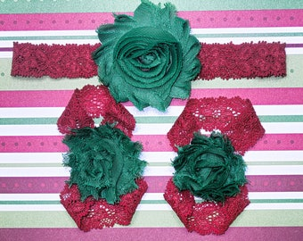 Green on Red Christmas barefoot sandals with headband