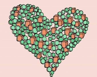 Orange and Green Peas and Carrots Love Heart 8x8 Digital Wall Art Print - We Go Together Like Peas and Carrots
