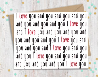 I Love you and You polyamorous Card, Polyamorous, Funny Greeting Card, I love You Card, Multiple Loves, Poly Card