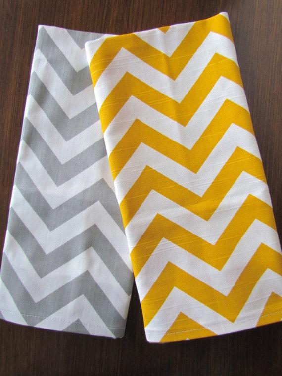 GRAY YELLOW TEA Towels Set of 2 Chevron Tea Towel Gray Hand