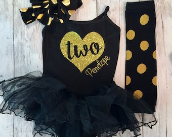 2nd Birthday Outfit Girl, First Birthday Outfit, Black and Gold Birthday Outfit, Black and Gold Tutu Set, Personalized Birthday, Girls Dress
