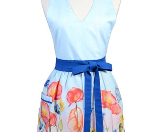 Sexy Halter Retro Apron - Butterfly Blue Floral Apron - Womens Cute V-Neck Over The Head Kitchen Apron with Pocket - Monogram Option