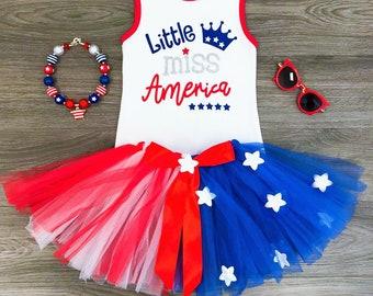 Little miss america 4th of july tutu skirt set. Free shipping USA