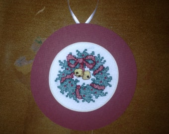 PERSONALIZED Holly Bells Wreath Cross Stitch Ornament