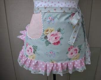 Pink Rose Aprons - Aqua Womens Aprons - Shabby Chic Apron - Roses and Pink Dots Handmade Apron - Chic and Shabby Apron - Annies Attic Aprons