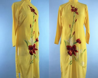 Vintage qipao dress, mid century embroidered cheongsam tunic, 1950s Mandarin collar silk dress, 60s opium den robe, canary yellow MCM dress
