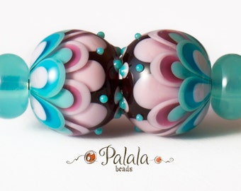 Pair of blue and pink Lampwork Glass Beads for earrings